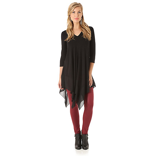 Women's Three Quarter Sleeve Length Solid Tunic