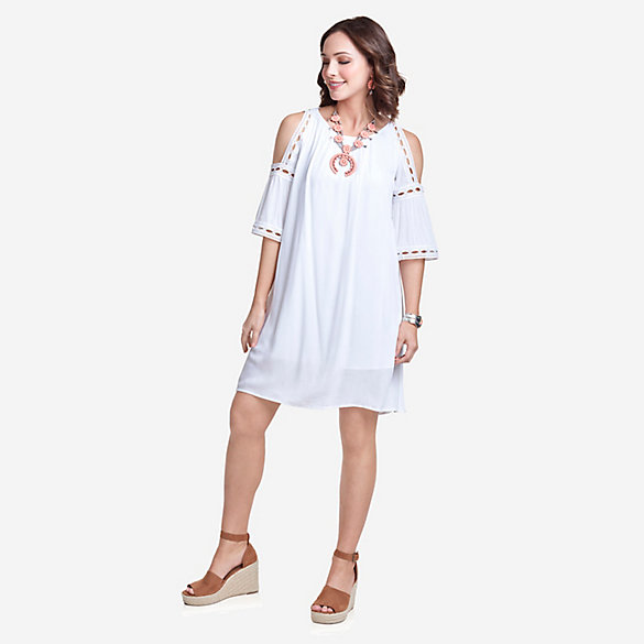 Women's Short Sleeve Cold Shoulder Eyelet Dress
