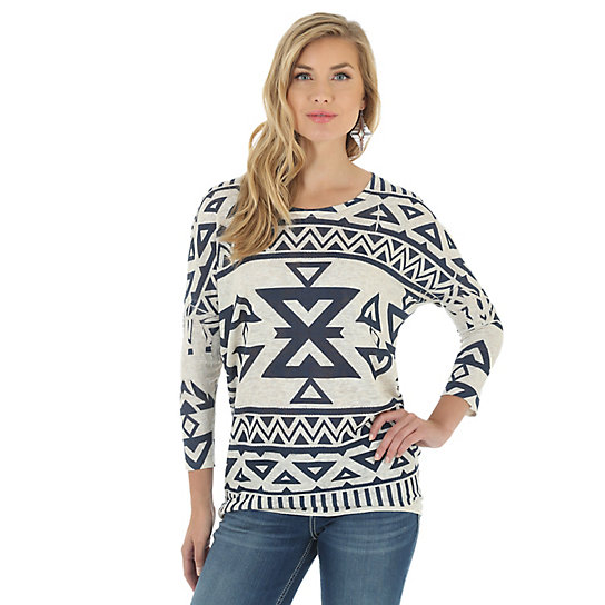 Women's Long Sleeve  Printed Sweater Knit
