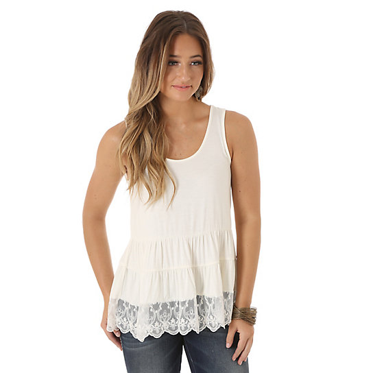 Women's Sleeveless Tiered with Lace Hem Solid Top