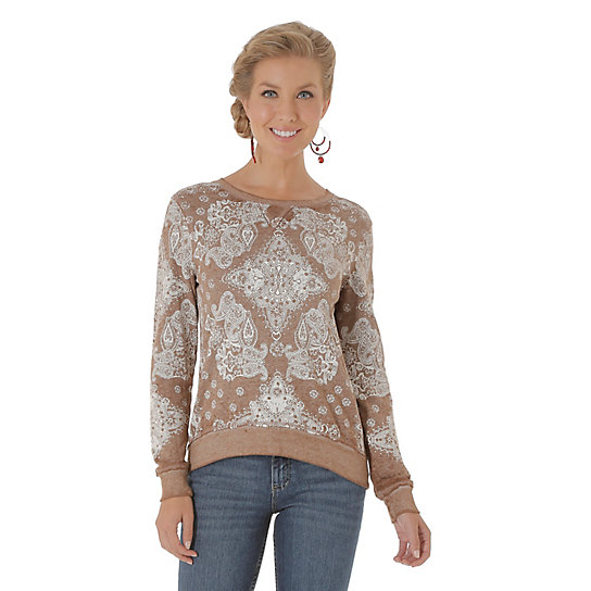 Women's Long Sleeve Bandana Printed Sweater Top