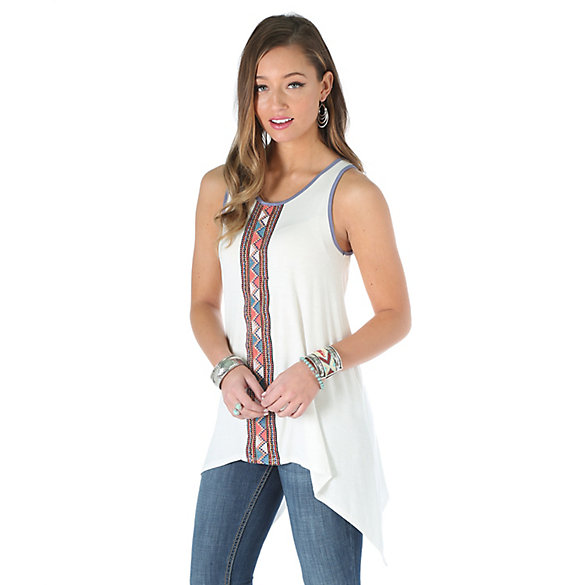 Women's Sleeveless with Taping Down Center Front Print Top