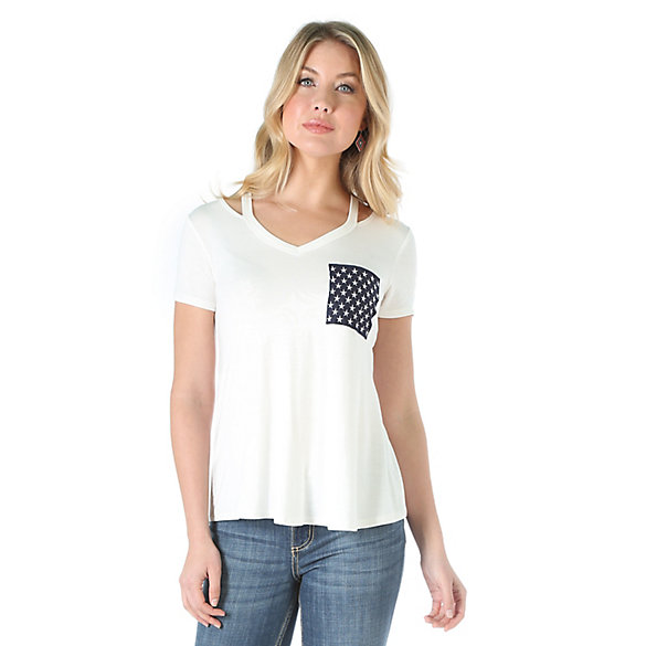 Women's Short Sleeve V Neck with Straps at Neck Solid Top