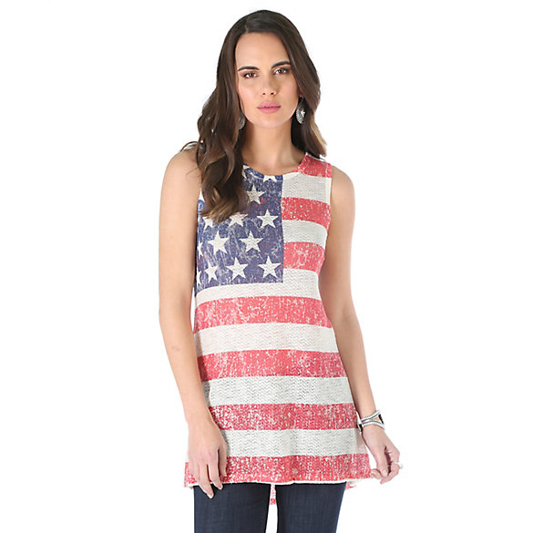 Women's Sleeveless Sharkbite Hem All Over Flag Print Top