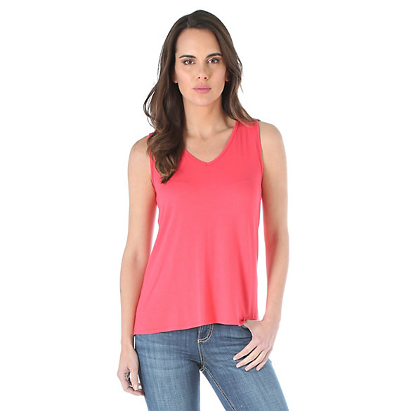 Women's Sleeveless Draped V Shaped Back Solid Top