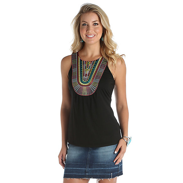 Women's Sleeveless Top with Multi Color Applique at Front