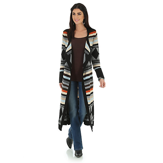 Wrangler® Western Fashion Long Sleeve Printed Duster - Aztec Multi