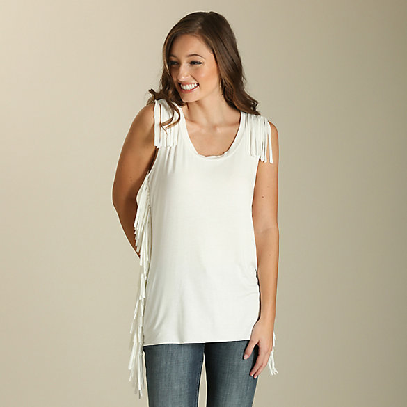 Women's Sleeveless Tank with Fringe Detail