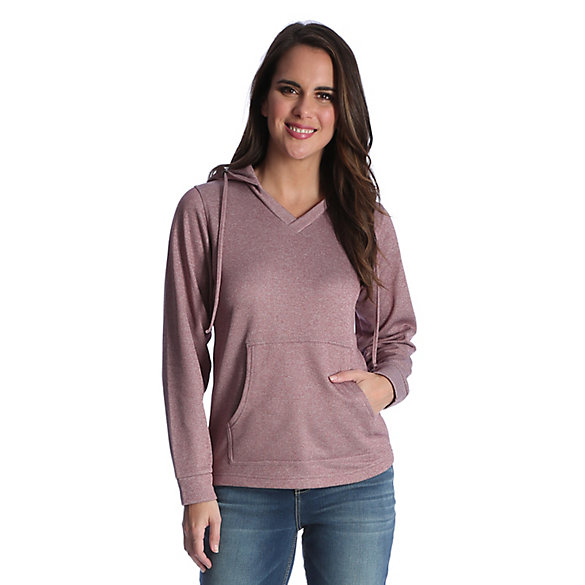Women's Solid Hoodie V Neck and Kangaroo Pocket with Wicking