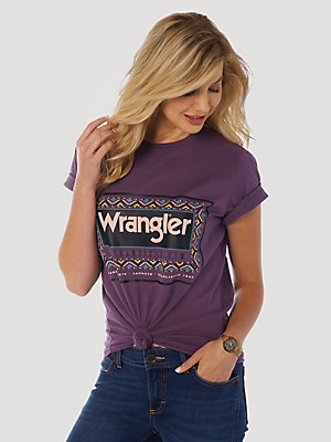 Women's Wrangler Retro® Short Sleeve Relaxed Fit Border Logo Tee