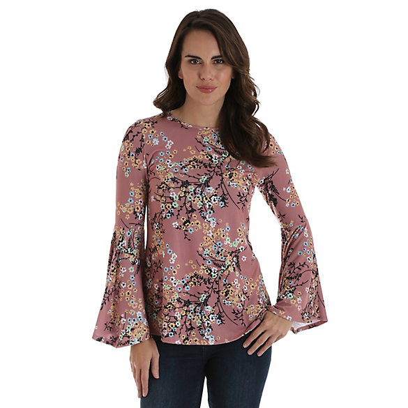 Women's Allover Floral Print Top with Trumpet Sleeves