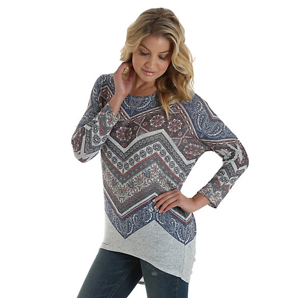 Women's Long Sleeve Allover Aztec Print Top with Dolman Sleeves