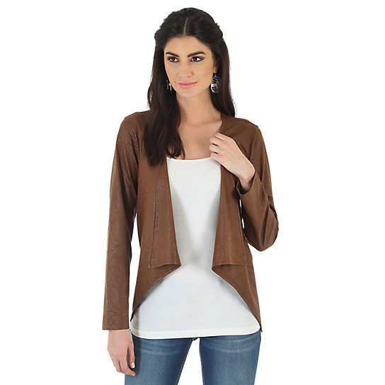Wrangler® Western Fashion Faux Suede Printed Jacket - Carafe Brown
