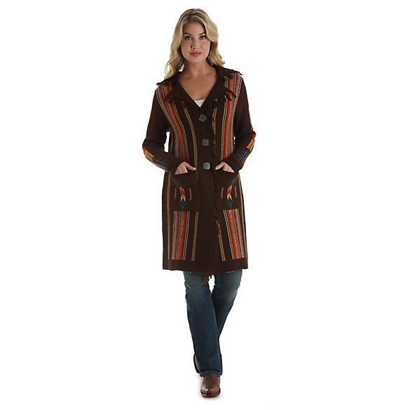 Women's Long Sleeve Serape Stripe Duster Cardigan
