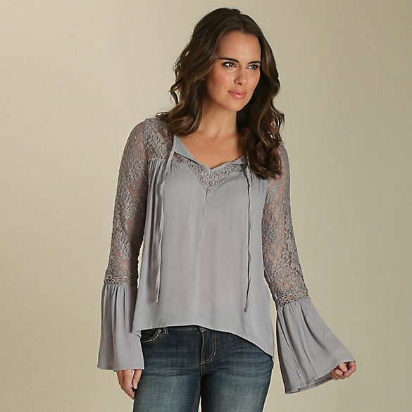 Women's Long Sleeve Peasant Blouse with Lace Bell Sleeves