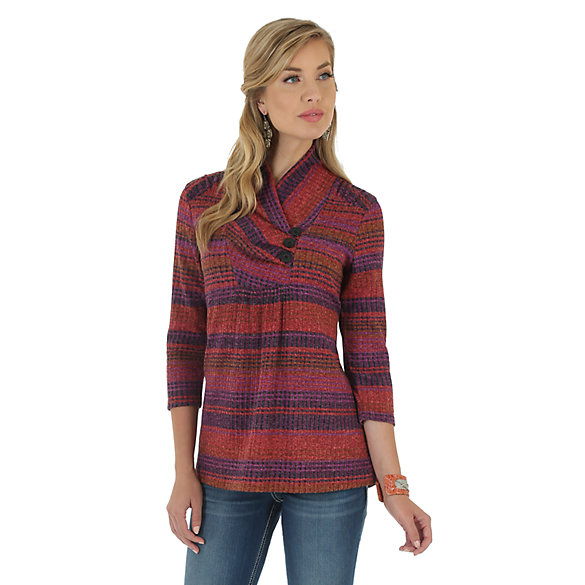 Wrangler® Three Quarter Sleeve with Cowl Neck Rib Sweater Printed Top - Red/Purple