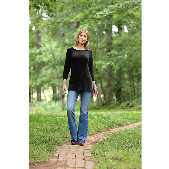 Wrangler® Long Sleeve Tunic Rib Sweater Solid Knit Top