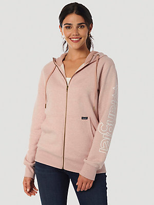 Women's Wrangler Retro® Long Sleeve Zip Front Logo Hoodie