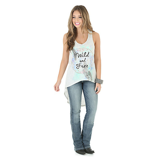 Wrangler® Western Tank with Hi Lo Hem and Graphic - Natural