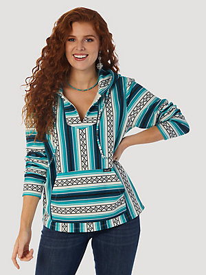 Women's Wrangler Retro® Long Sleeve Serape Print French Terry Hoodie