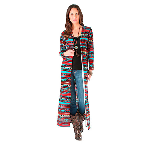 Women's Long Sleeve Sweater Knit Duster with Slits at Sideseams