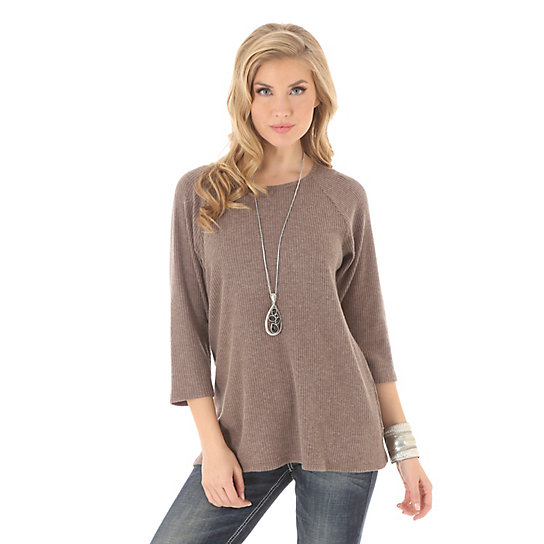 Women's Long Sleeve with Sharkbite Hem Solid Tunic