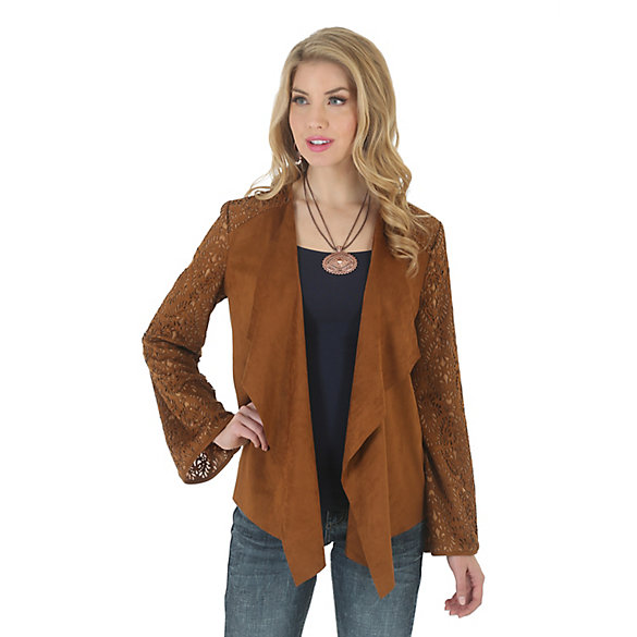 Women's Faux Suede with Sweater Knit Back Jacket