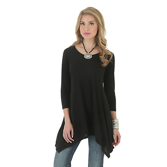 Women's Three-Quarter Length  Sleeve Solid Tunic