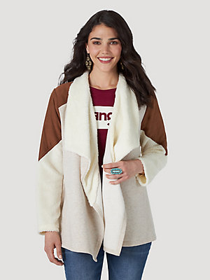 Women's Wrangler Retro® Long Sleeve Sherpa Lined Paneled Drape Front Jacket