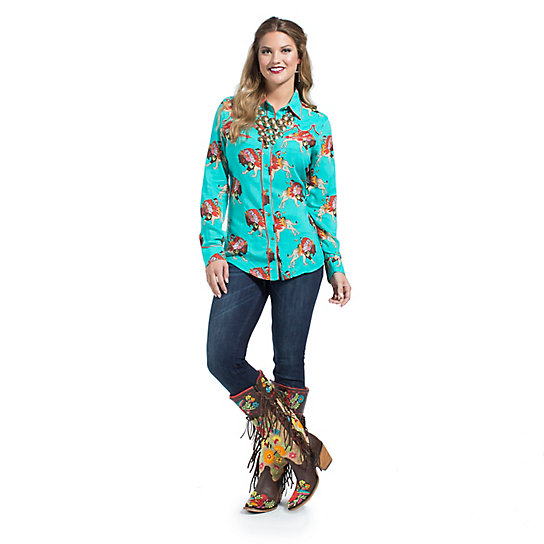 Wrangler® with Rodeo Quincy Allover Printed Top