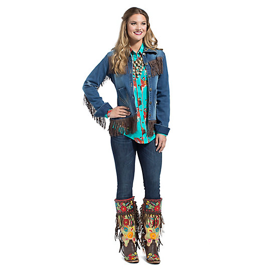 Wrangler® with Rodeo Quincy Faux Suede Fringe at  Yokes and Bottom Hem Denim Jacket