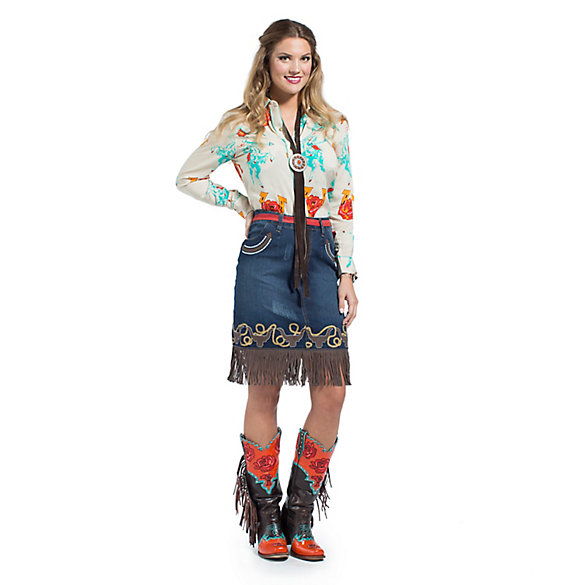 Wrangler® with Rodeo Quincy Denim Skirt