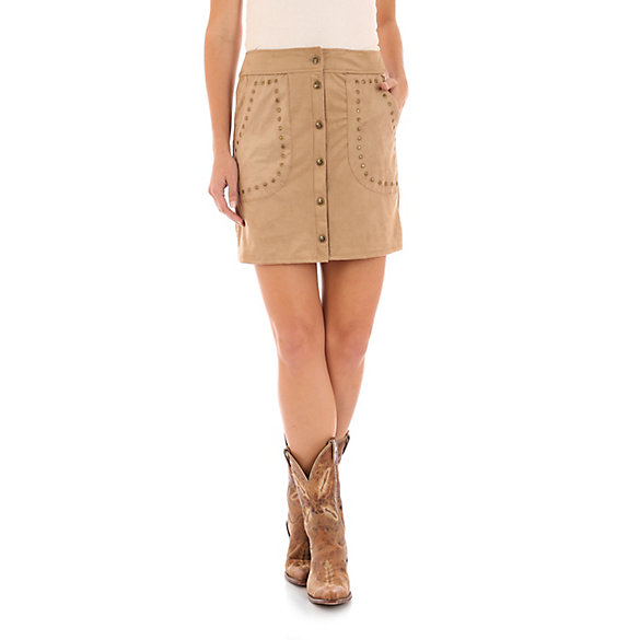 Button Front Faux Suede Skirt