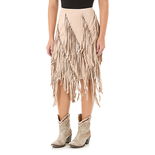 Tiered Faux Suede Fringe Skirt