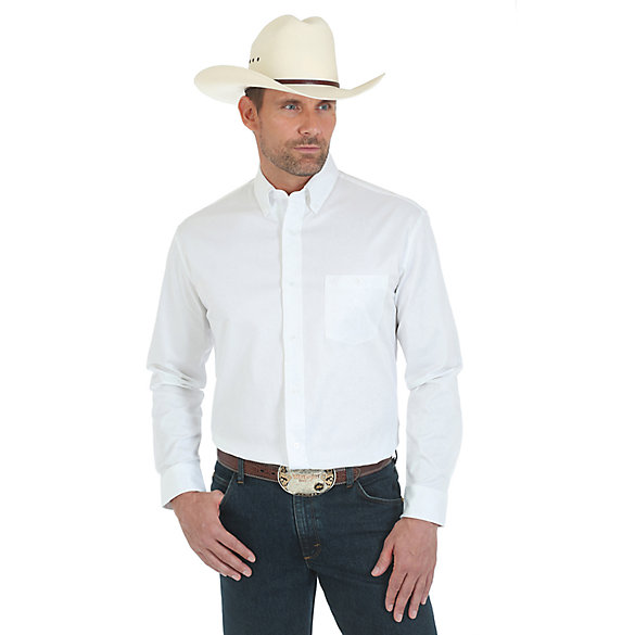 Wrangler® Premium Performance Advanced Comfort Sport Long Sleeve Button Down Solid Shirt - White