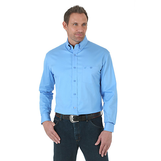 Wrangler® Advanced Comfort Sport Long Sleeve Button Down Solid Shirt - Blue (Tall Sizes)