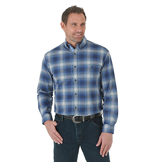 Wrangler® Advanced Comfort Sport Long Sleeve Button Down Plaid Shirt - Blue/Black