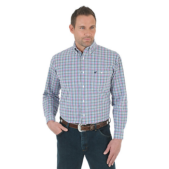 Wrangler® Premium Performance Advanced Comfort Long Sleeve Button Down Plaid Shirt