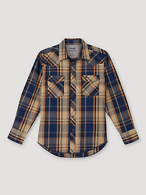 Men's Wrangler® Premium Performance Advanced Comfort Long Sleeve Plaid Work Shirt