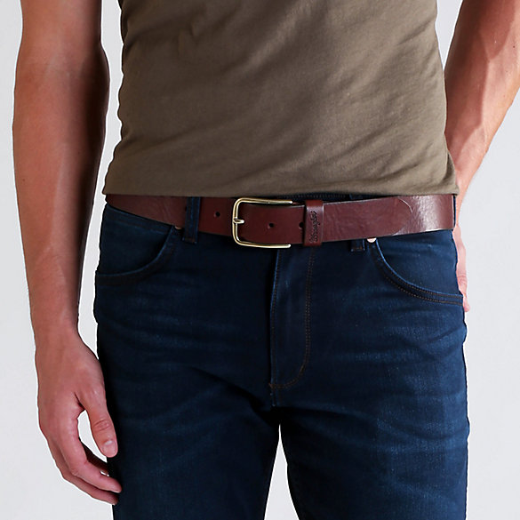 Men's Leather Loop Brass Buckle Belt