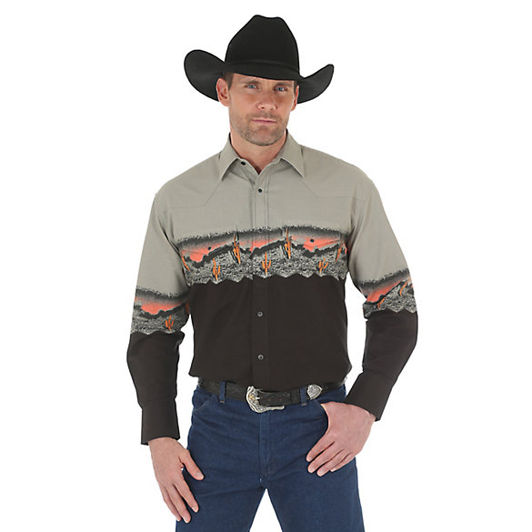 Men's Checotah Long Sleeve Western Snap Border Print