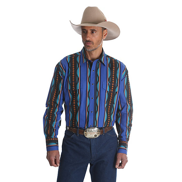 checotah men Enjoy all-day comfort and style when you dress in this western shirt from wrangler this shirt has cotton construction with an allover checotah print.