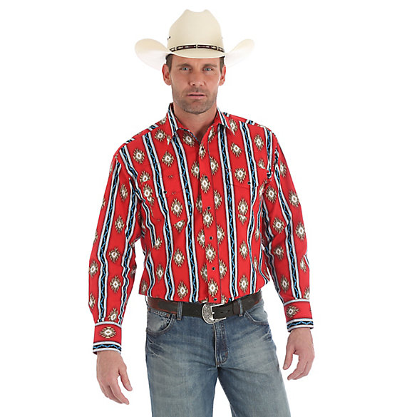 Men's Checotah Long Sleeve Western Snap Vertical Print