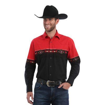 Men S Checotah 174 Long Sleeve Western Snap Horizontal Print