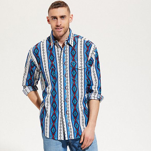 880b7250b Men's Wrangler® Retro Jacquard Checotah Western Snap Shirt | Mens ...