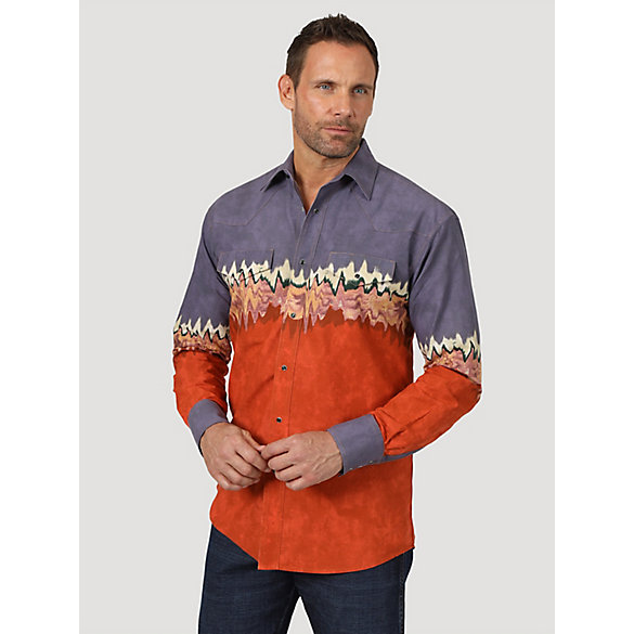Men's Checotah® Long Sleeve Western Snap Horizontal Print Shirt