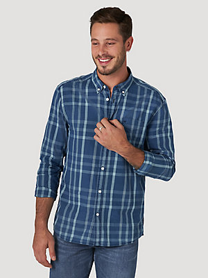 Men's Plaid One Pocket Button-Up Shirt