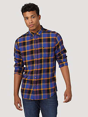 Men's Wrangler® Colbalt Plaid Button Up Shirt