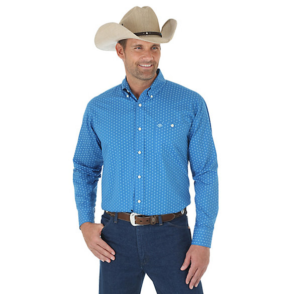 Men's Western Classic Long Sleeve Button Down Print Shirt (Big & Tall)