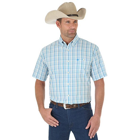 Men's Western Classic Short Sleeve Button Down Plaid Shirt
